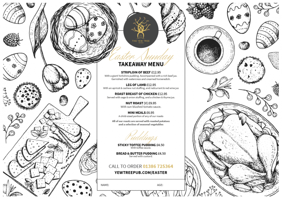 The Yew Tree Easter Sunday Takeaway Menu